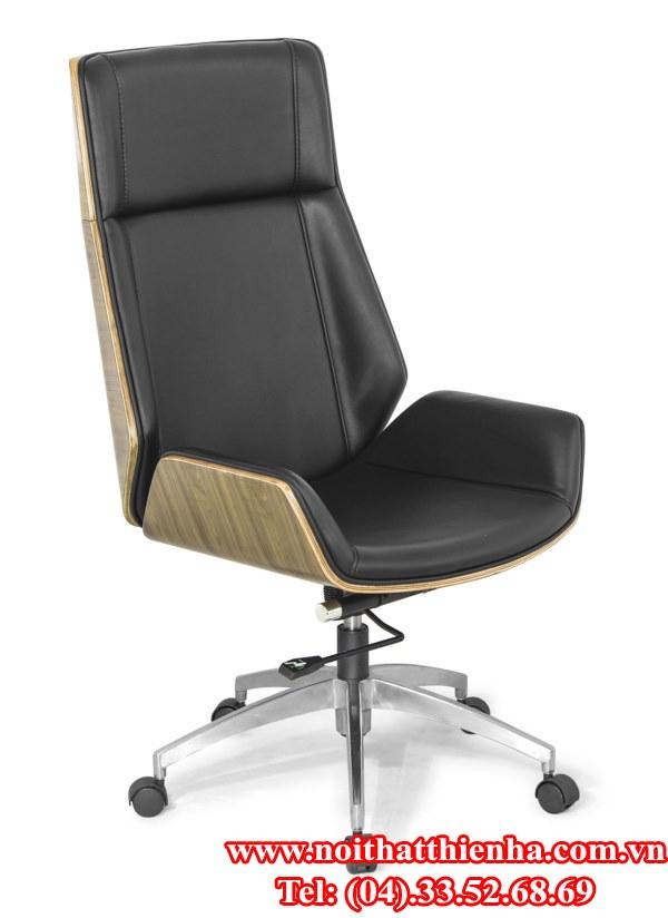 Ghế xoay bọc da ốp gỗ veneer GX602B-HK
